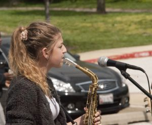Leah Prescott playing her saxophone during the Spring Lunch Jam. (Photo Credit: Daniel Ingham)