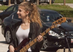 Leah Prescott playing the bass during the Spring Lunch Jam. (Photo Credit: Daniel Ingham)