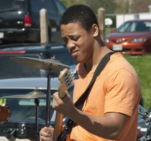 "Xavier ""X-Ray"" Franks playing the bass on the Spring Lunch Jam."