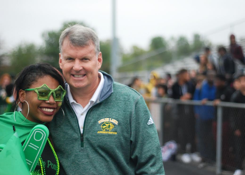 Mr. Wilson and Jazmia Perry at the homecoming pep rally