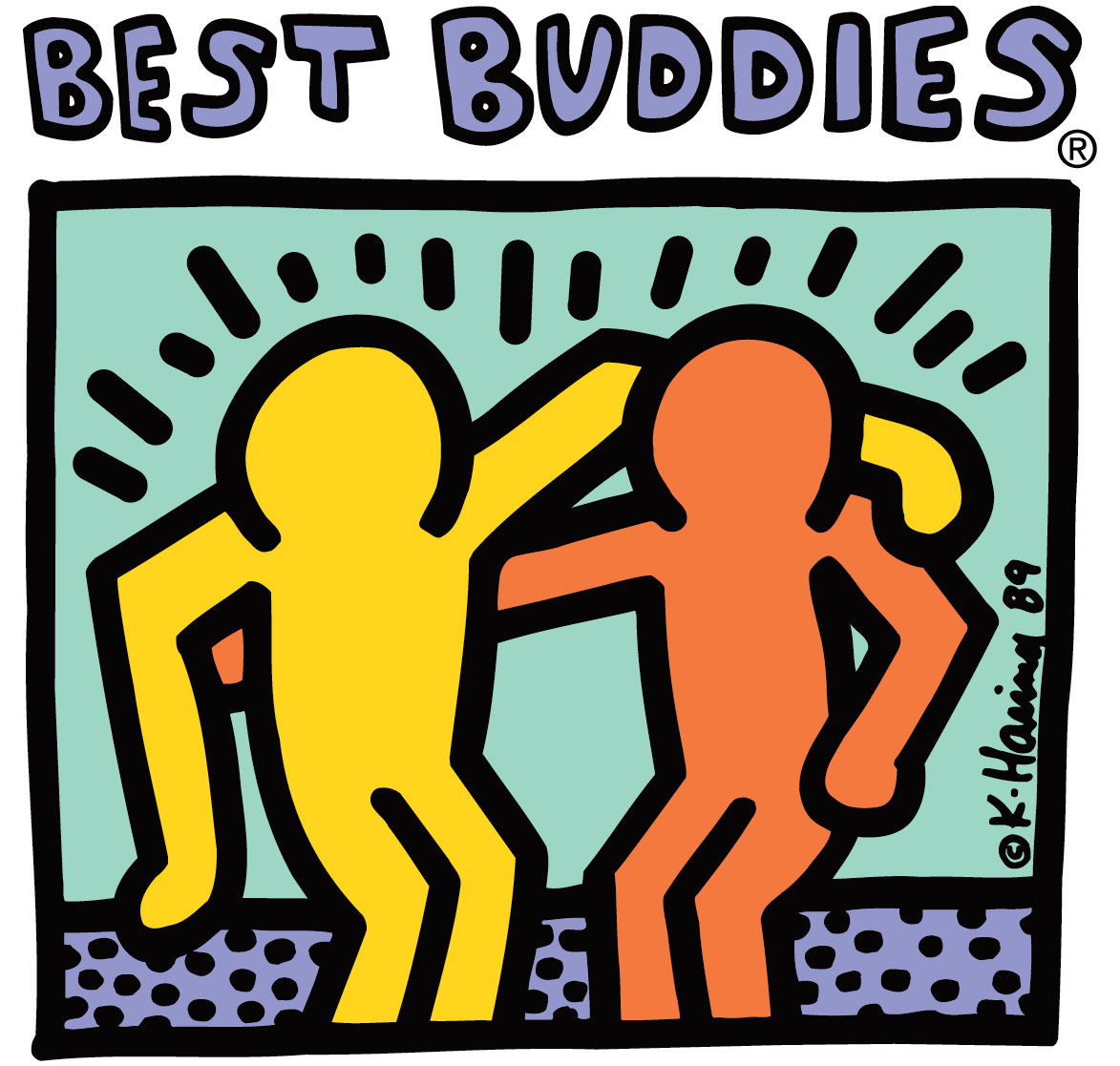 Keith Haring's artwork is used as the Best Buddies logo