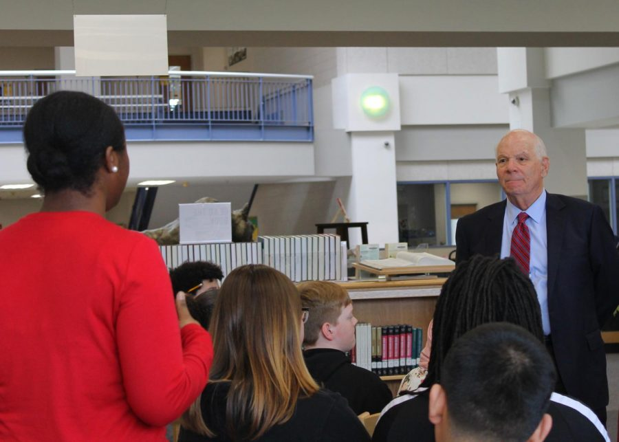 Senator Cardin responds to a question asked by Junior Esther Olajide
