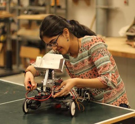 Tanishka Mistry engineers her robot.