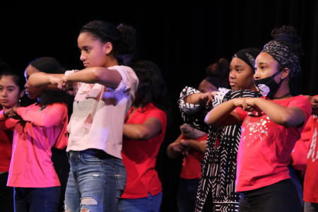 Wilde Lake step team highlights the diverse aspects of Wilde Lake at the Black History Month Assembly.