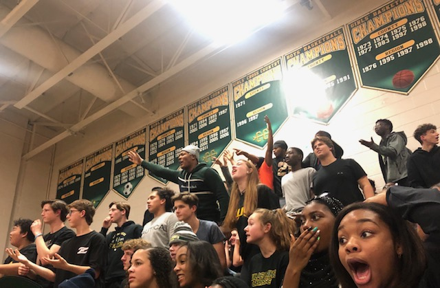 The student section is seen reacting to a missed shot from a Wilde Lake Player at a home game vs Centennial. The Cats unfortunately fell short on January 15th with a score of 57-51.