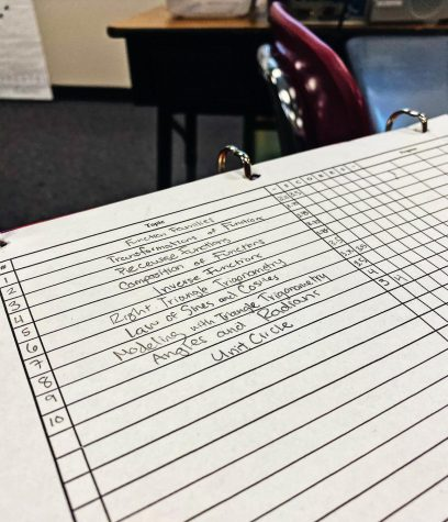 Students record their grades in a table to track their progress.