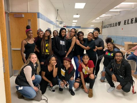 The Step Team is pictured after their performance at Long Fellow elementary school for their culture day.
