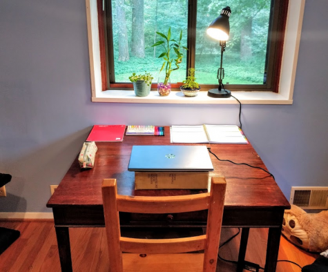 Many students have set up work spaces in their homes to help them stay focused during class.