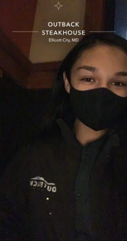 Wilde Lake senior Maura Fleck on break at her job at Outback Steakhouse, January 2021