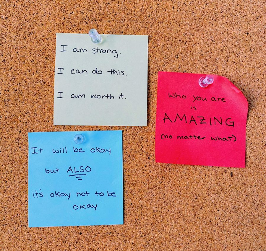 These are just a few of the sticky notes I've created for myself over the past year with affirmations to keep me going.