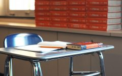 An empty desk in a classroom at Wilde Lake.