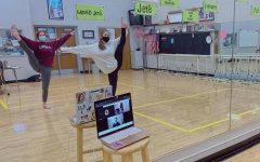 Dance Company members, Shelby Kline (left), and Emma Bohse (right), teaching during a hybrid lesson.