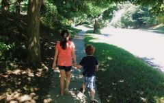 Maddy (10) and Will (5) going for an afternoon walk together