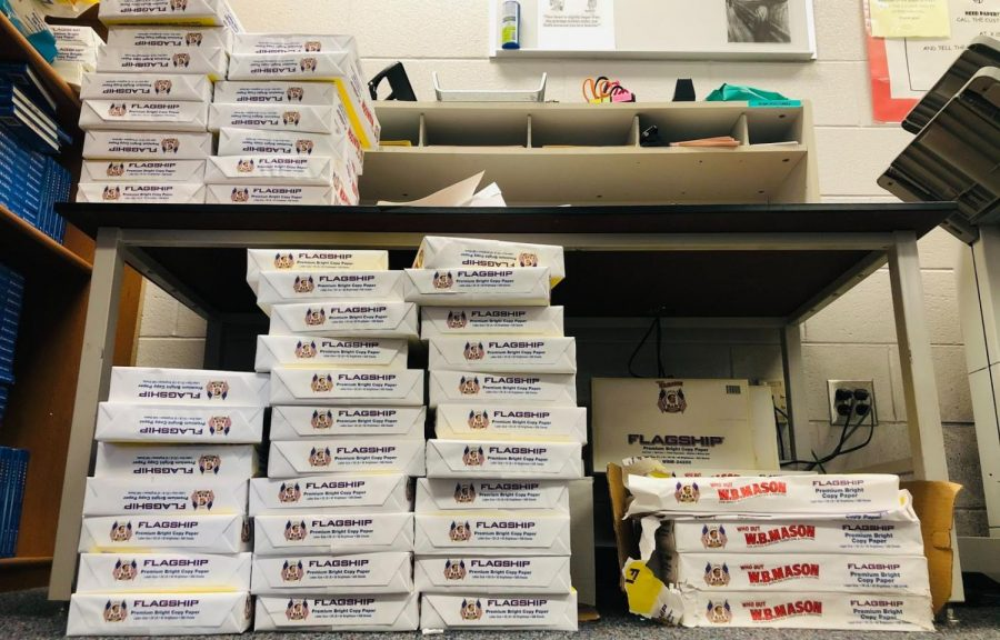 Typically, there would be no left over paper by the end of the school year. This year, there's a surplus. (Photo by Ben Townsend)