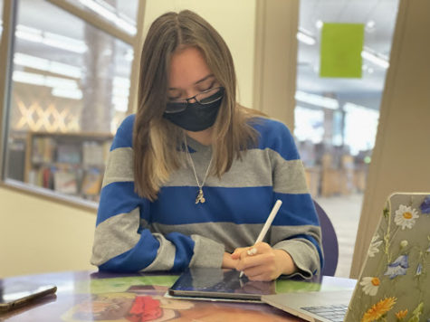 """Valerie Brady, senior, studying at a Howard County library. """"It can be hard, but I don't turn in work late,"""" she said. """"Will it be the best quality it can be? No. Will it be completed though? Yes."""" (Photo by Zoe MacDiarmid)"""